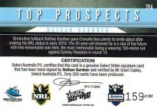 2011 NRL Strike Top prospect Signature TP4 Nathan Gardner Sharks #159/300 back
