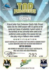 2009 NRL Classic Top Prospects Signature TP4 Mitch Brown Sharks #292/300 back
