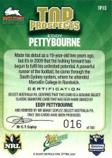 2009 NRL Classic Top Prospects Signature TP13 Eddy Pettybourne Rabbitohs #16/300 back