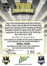 2009 NRL Classic Top Prospects Signature TP15 Russell Packer Warriors #196/300 back