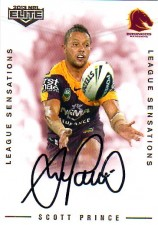 2013 NRL Elite League Sensations Signature LS1 Scott Prince Broncos #76/105