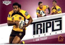 2013 NRL Elite Triple Threats TT1 Sam Thaiday Broncos