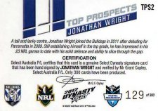 2012 NRL Dynasty Top Prospects Signature TPS2 Jonathan Wright Bulldogs #129/300