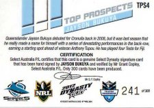 2012 NRL Dynasty Top Prospects Signature TPS4 Jason Bukuya Sharks #241/300