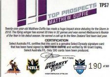 2012 NRL Dynasty Top Prospects Signature TPS7 Matt Duffie Storm #190/300