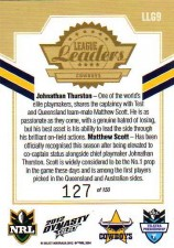 2012 NRL Dynasty Gold League Leader LLG9 Thurston / Scott Cowboys #127/150