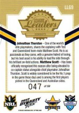 2012 NRL Dynasty Gold League Leader LLG9 Thurston / Scott Cowboys #47/150