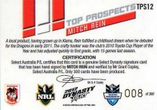 2012 NRL Dynasty Top Prospects Signature TPS12 Mitch Rein Dragons #8/300
