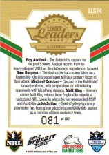 2012 NRL Dynasty Gold League Leader LLG14 Asotasi / Burgess / Croker / King / Sutton Rabbitohs #81/150