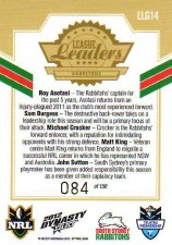 2012 NRL Dynasty Gold League Leader LLG14 Asotasi / Burgess / Croker / King / Sutton Rabbitohs #84/150