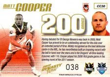 2012 NRL Dynasty Case Card CC30 Matt Cooper Dragons #38