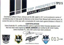 2012 NRL Dynasty Top Prospects Signature TPS15 Shaun Johnson Warriors #13/300