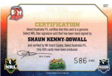 2011 NRL Champions Starb Signature SS7 Shaun Kenny-Dowall Roosters #586/600