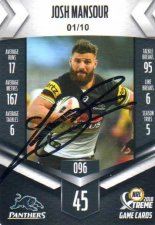 2018 NRL Xtreme Signature Case Card Josh Mansour Panthers #1/10