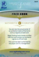 2017 Regal Greats of the Game Century Signature Gold CSG-FC Fred Cook #10/20